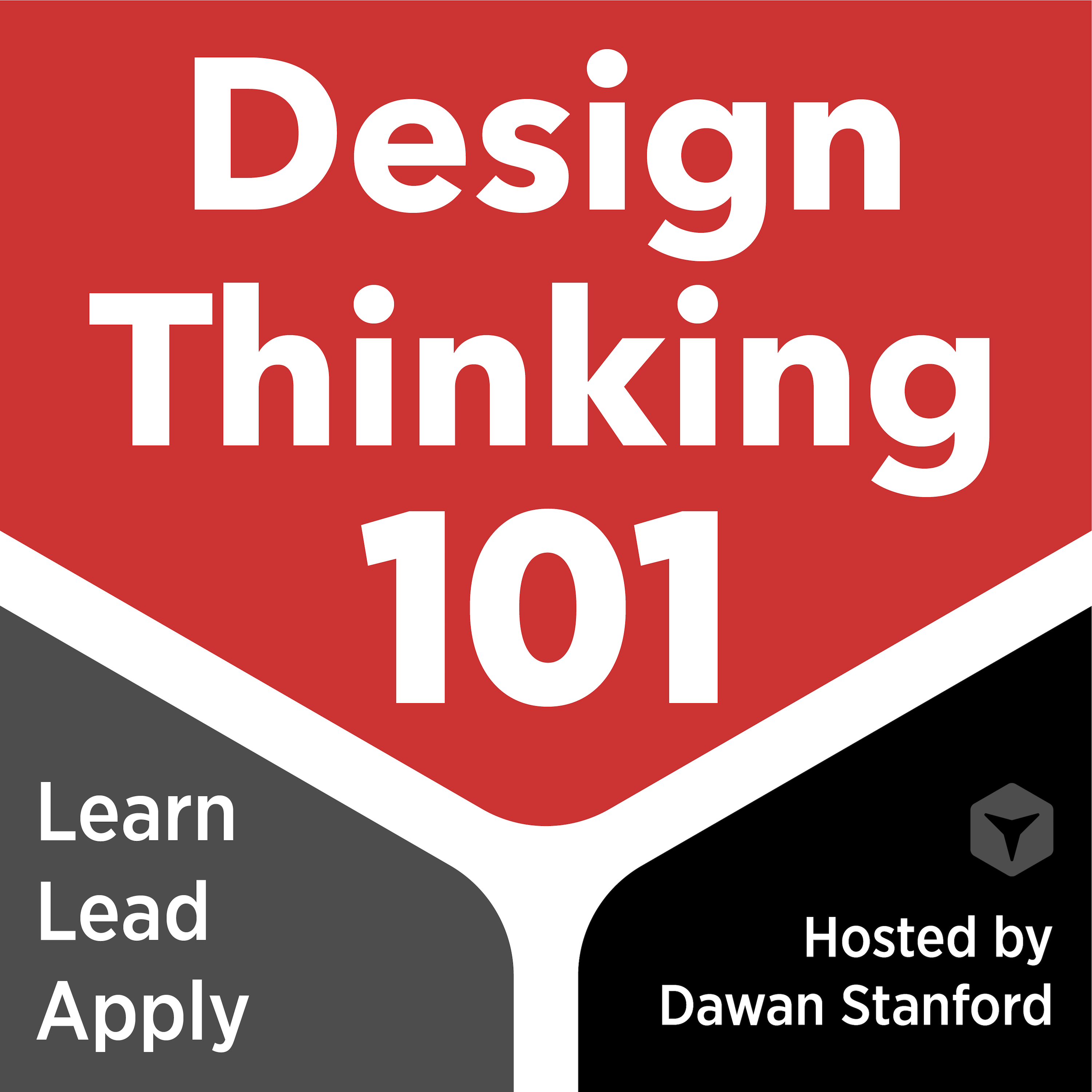 Design Thinking 101 Podcast Logo. Design Thinking 101 is printed large in the center. The words learn, lead and apply appear at the lower left. Hosted by Dawan Stanford appears at the lower right.